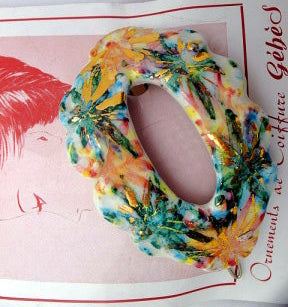 Hand painted ceramic barrette - Accessories Of Old