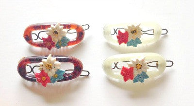 Mini pair of flower barrettes - Accessories Of Old