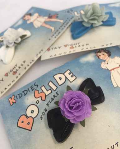Bow with flower details vintage children's hair barrette - Accessories Of Old