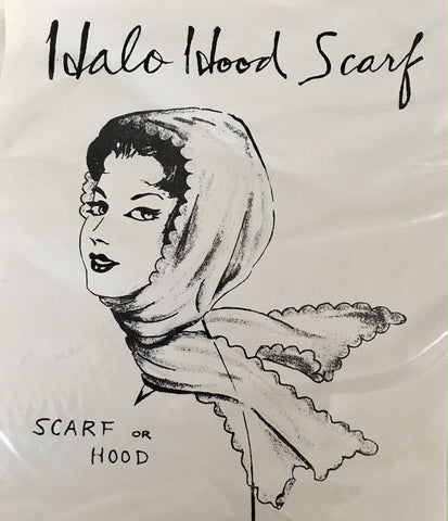 Vintage 1950s long white chiffon head scarf
