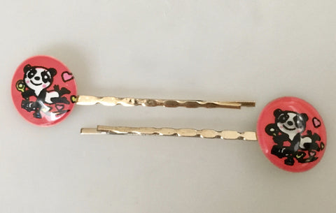 Cute hair slide bobby pin with panda illustration - Accessories Of Old