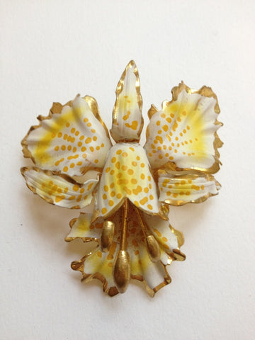 Hand Painted Orchid Brooch