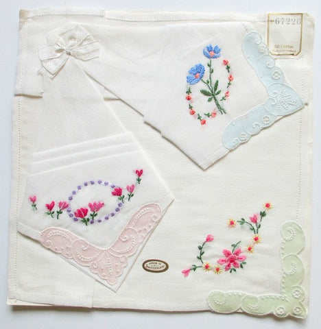 1940s' set of three Swiss made hankies - Accessories Of Old