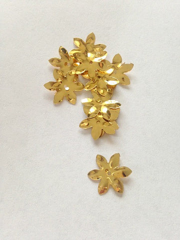 Flower shaped gold sew on sequin - Accessories Of Old
