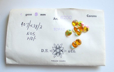 Vintage package of 8mm Topaz Aurore Boreale sold by the gross (144 pcs)