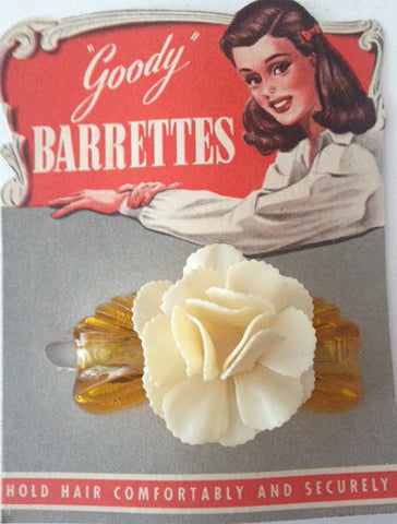 Vintage Celluloid Flower Barette - Accessories Of Old