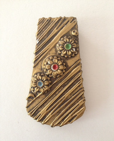Golden Floral Dress Clip