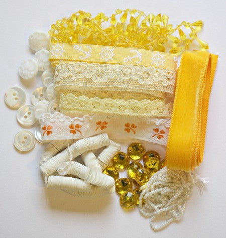 Vintage craft kit in yellows and whites