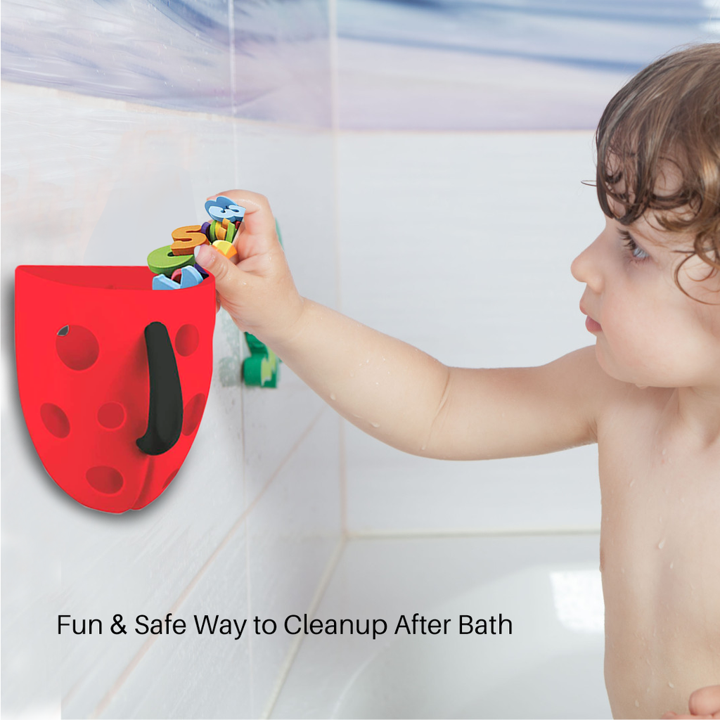 Bath Toy Organizer - Red w/ Black Handle