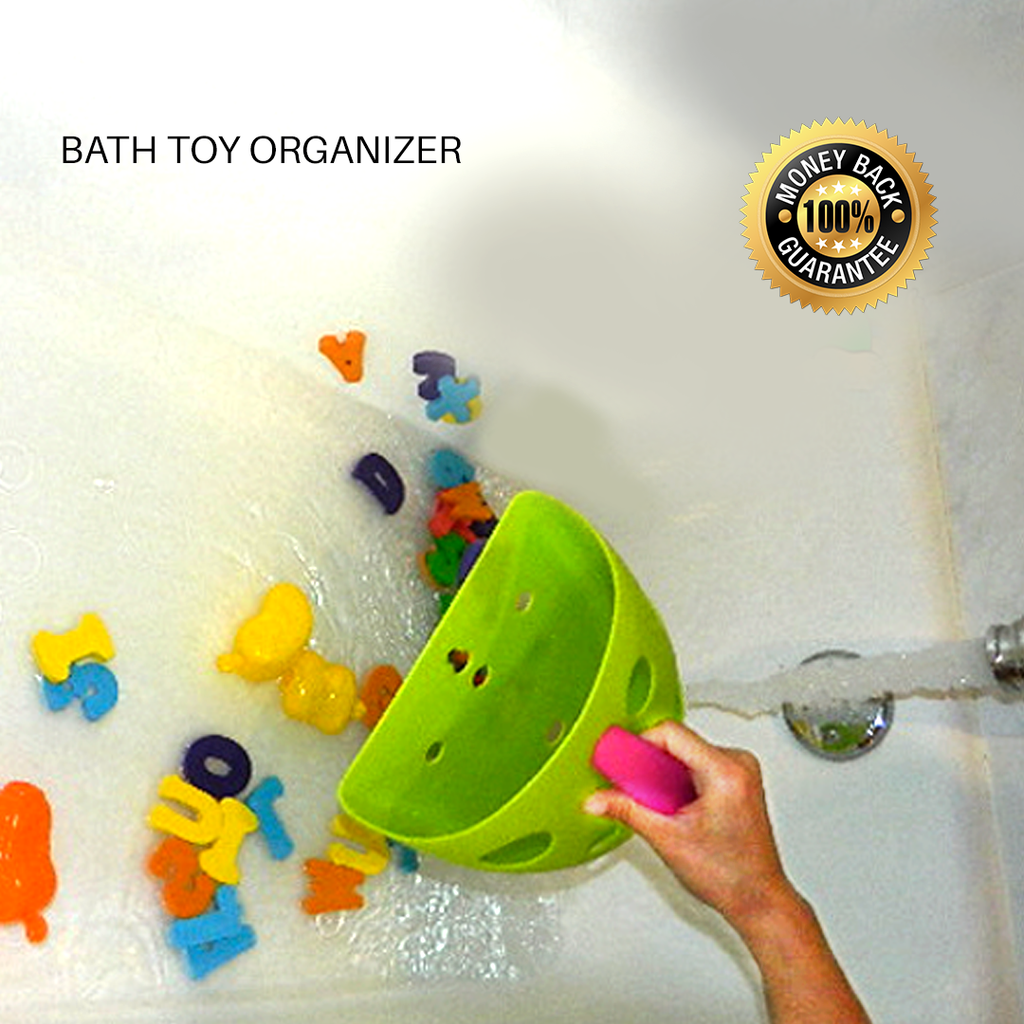 Bath Toy Organizer - Green / Red Handle