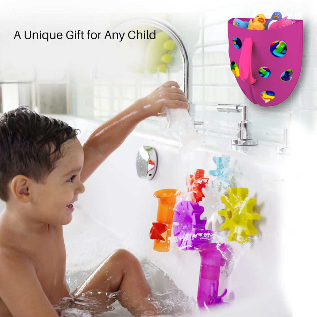 Bath Toy Organizer - Purple w/ Pink Handle