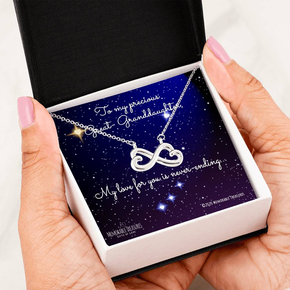 Great-Granddaughter, My Love For You is Never-Ending... - Infinity Heart Necklace - Memorable Treasures Too!