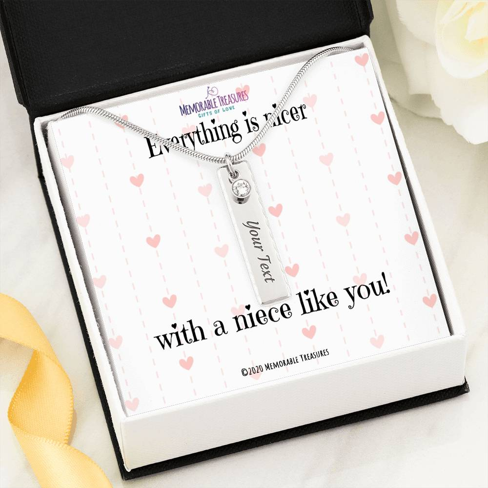 Everything is Nicer With a Niece Like You! - Birthstone Name Necklace - Memorable Treasures Too!