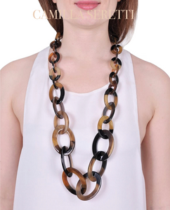 Harlow Horn Necklace, Ebony, graduated links