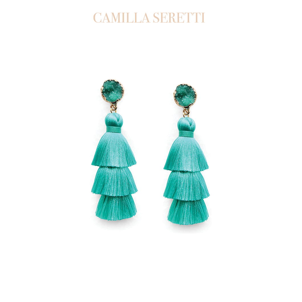 Adria Tassel Earrings, Turquoise