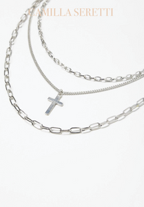 Connie Cross Necklace Chain Set, Silver