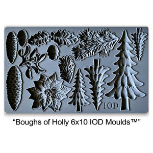 "Boughs of Holly IOD Mould (6"" x 10"")"