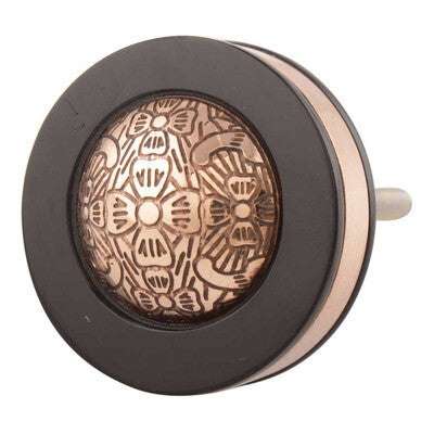 Black/ Copper Circle Knob