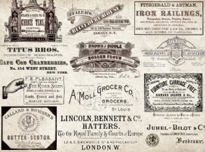 ANTIQUE MERCHANT AND TYPOGRAPHY AND EPHEMERA TISSUE