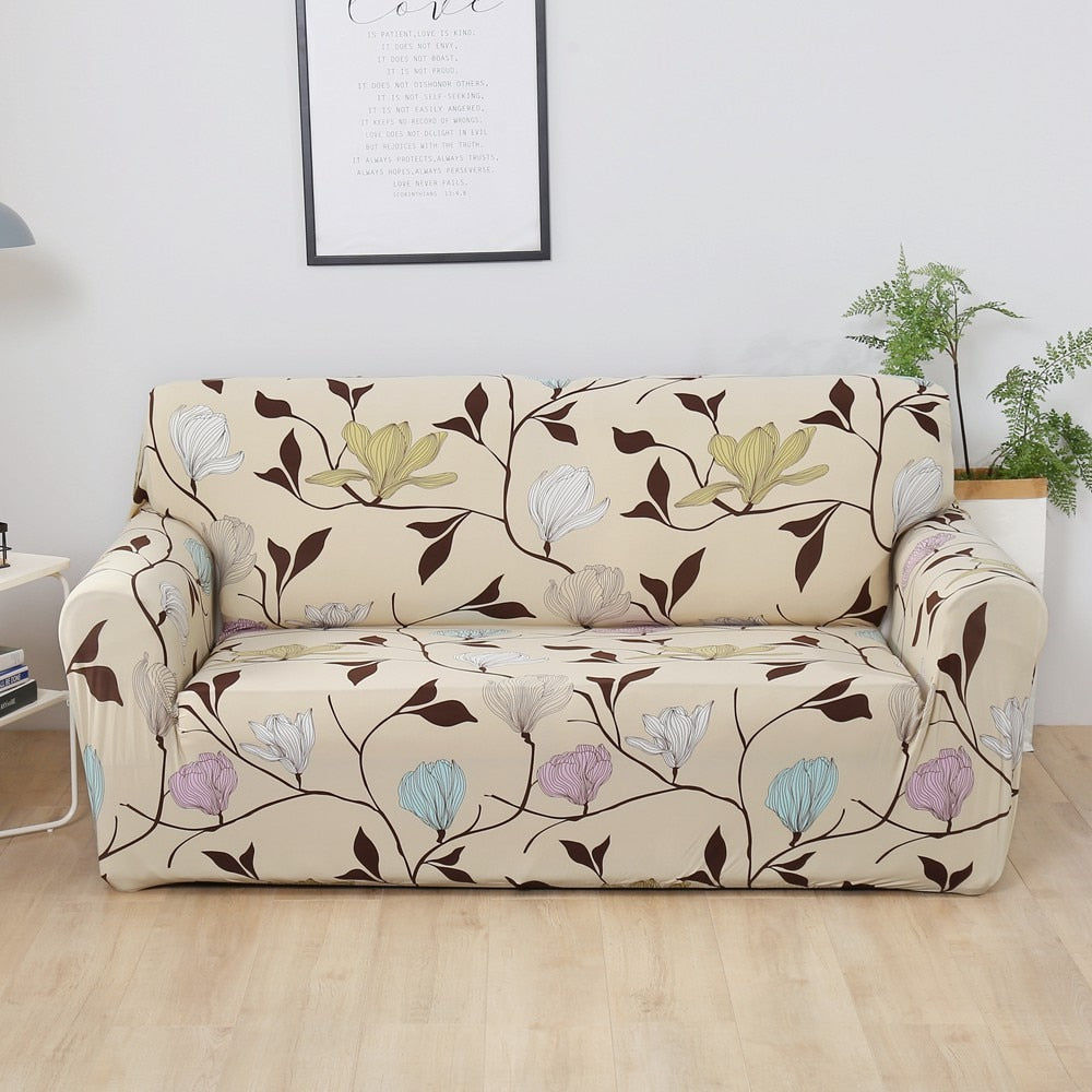 Beige Flower Printed Stretch Sofa Slipcover | 1-4 Seats