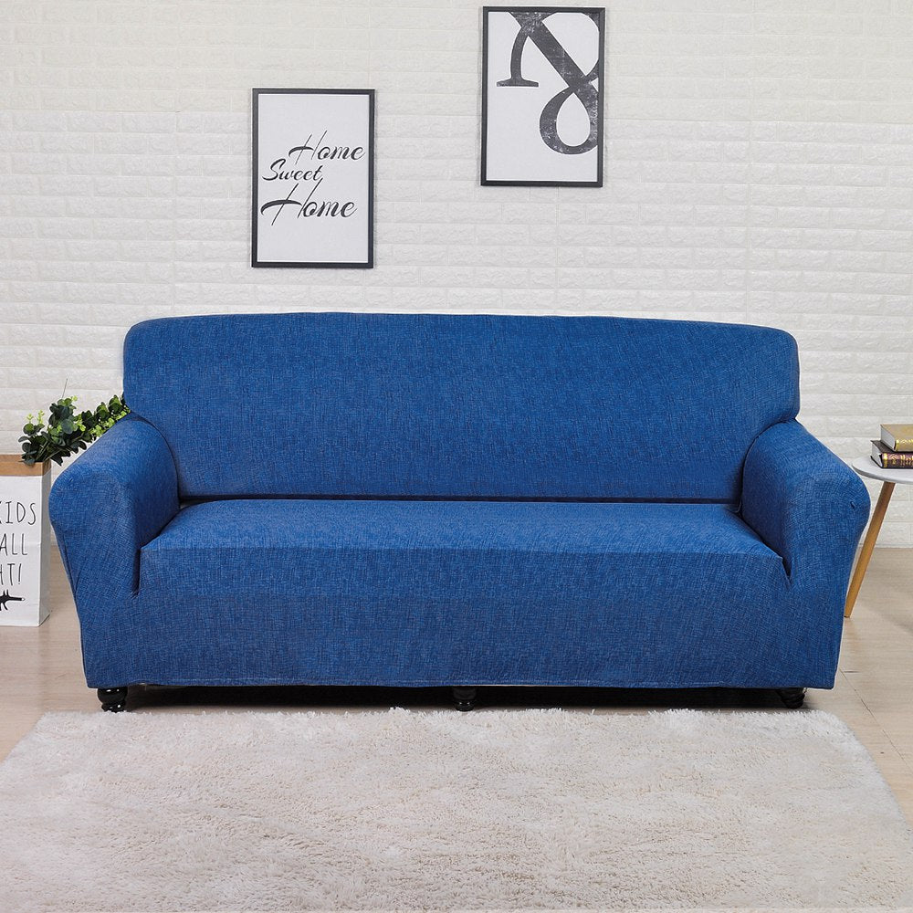 Sameer Blue Stretch Sofa Slipcover | 1-4 Seats