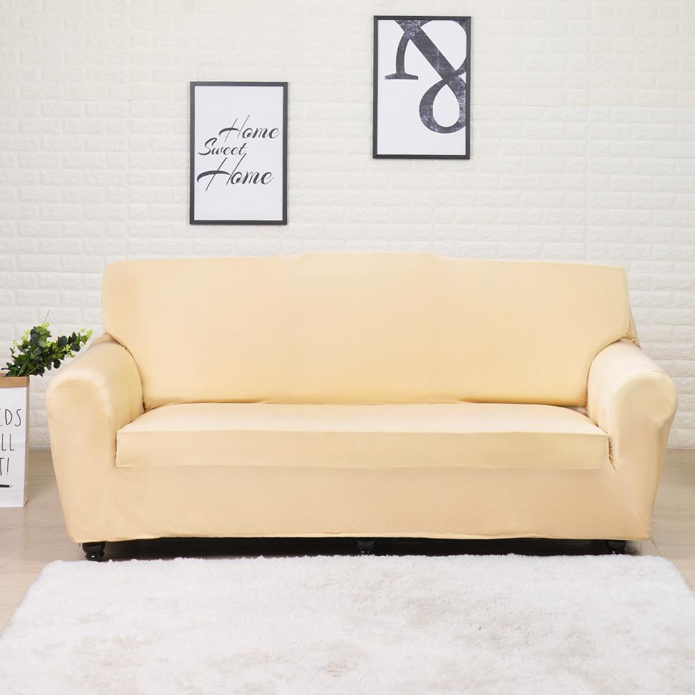 Solid Beige Stretch Sofa Slipcover | 1-4 Seats