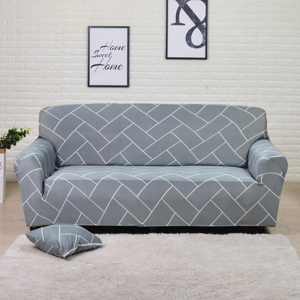 Grey Stripes Printed Stretch Sofa Slipcover | 1-4 Seats