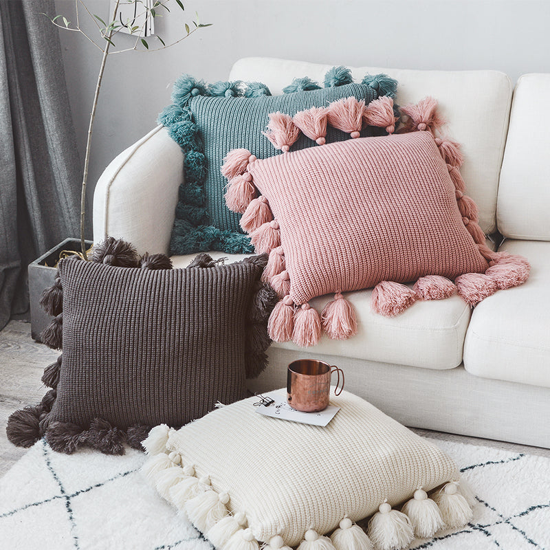 New Soft Knitted Tassel Pillow Cover | 18x18 Inch