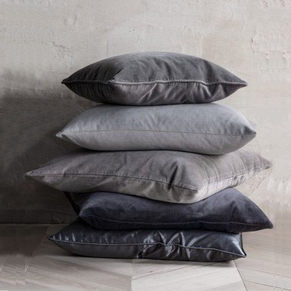 Silver Velvet European Pillow Covers Pair | 3 Sizes