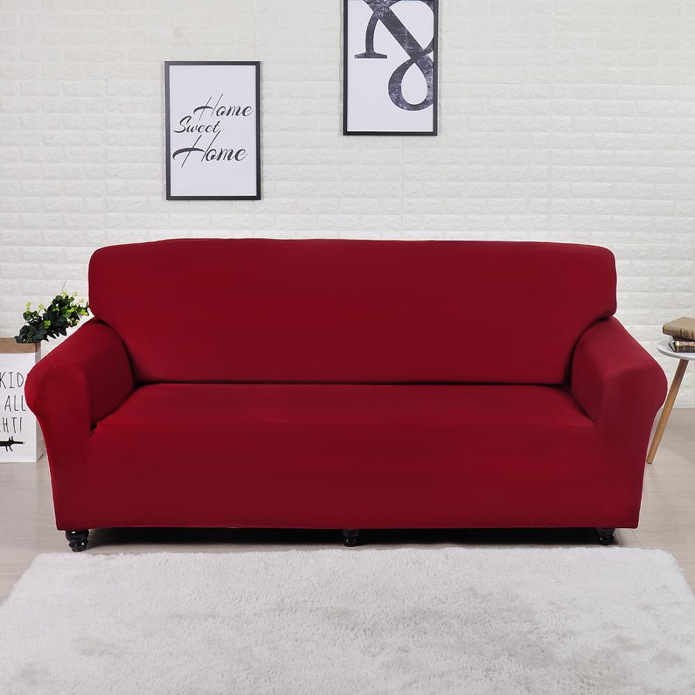 Solid Red Printed Stretch Sofa Slipcover | 1-4 Seats
