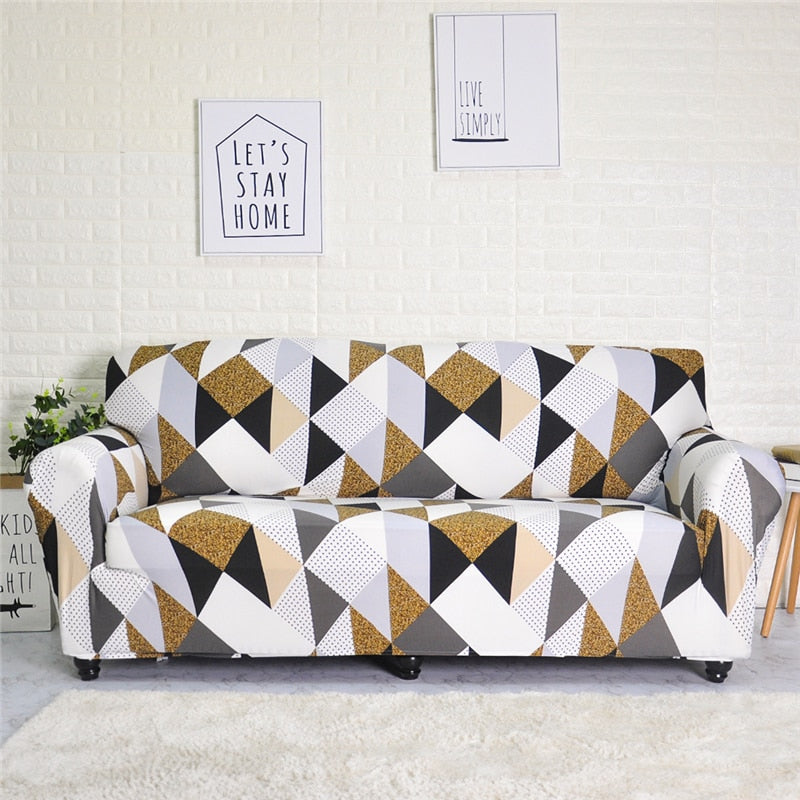 Brown Geometry Printed Stretch Sofa Slipcover | 1-4 Seats