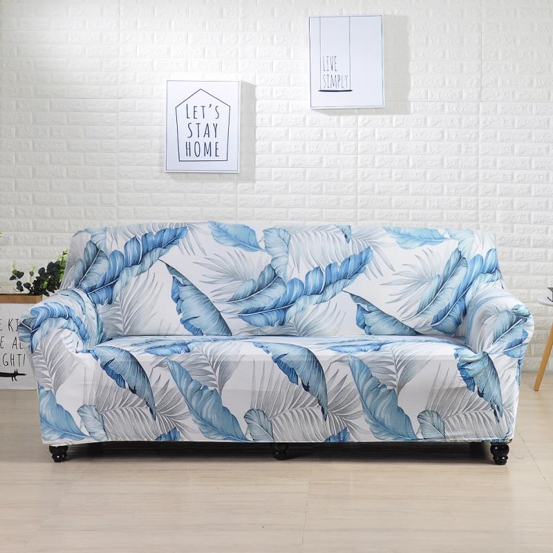 Aqua Feather Printed Stretch Sofa Slipcover | 1-4 Seats