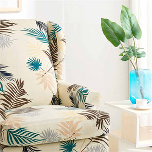Printed Wing Back Chair Slipcover | Yellow | Two Pieces