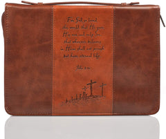 Leather full zipper bible cover