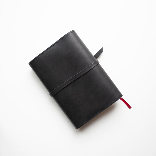 Black Leather Bible Cover - Wrap closure - Made to Fit - Wax English Bridle