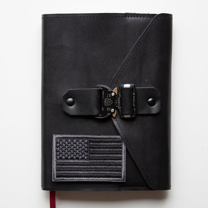 Black Military Leather Bible Cover - Cobra Buckle - Made to Fit - Wax English Bridle