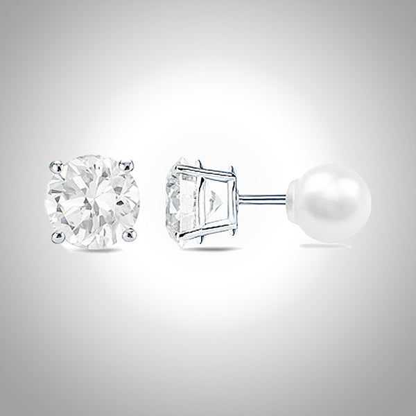 Duo 2 in 1 swarovski / pearl stud earring