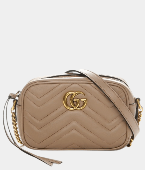 Gucci GG Marmont Small Matelasse Nude Shoulder Bag