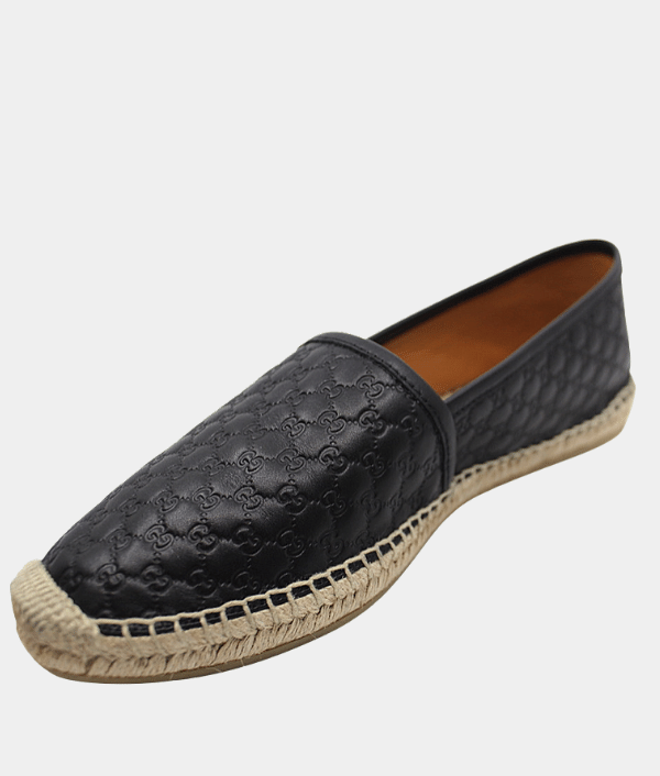 Gucci Black Guccisima Leather Espadrilles - Size 39.