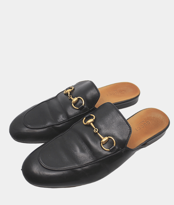 GUCCI PRINCETOWN LEATHER SLIPPER.