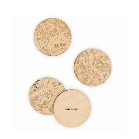 San Diego Map Coaster Set