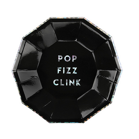 Pop, Fizz, Clink! Noir Small Party Plates