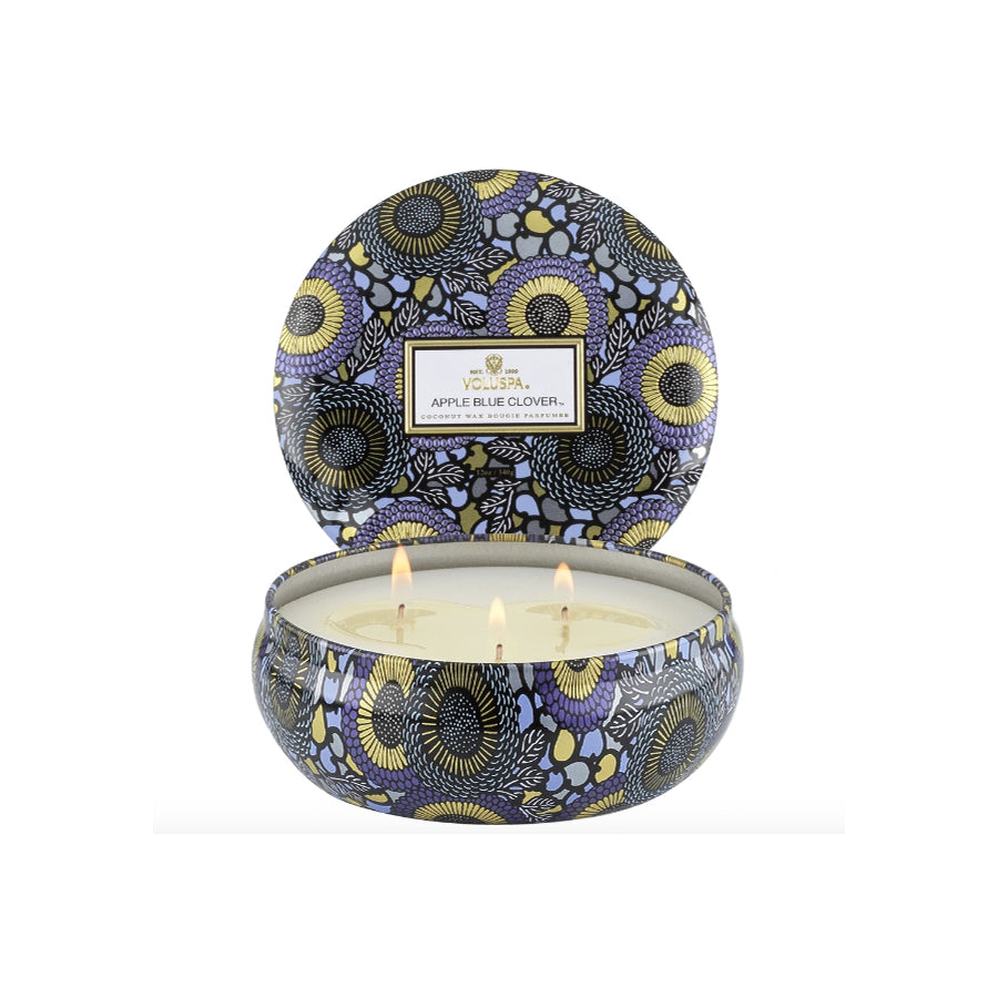 Apple & Blue Clover Tin Candle