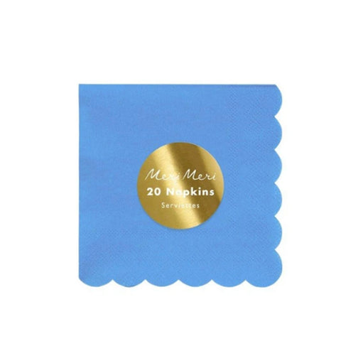 Sky Blue Scalloped Party Napkins