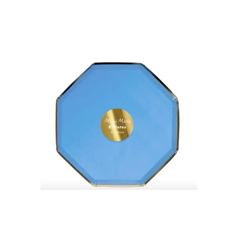 Sky Blue Party Plate with Gold Trim