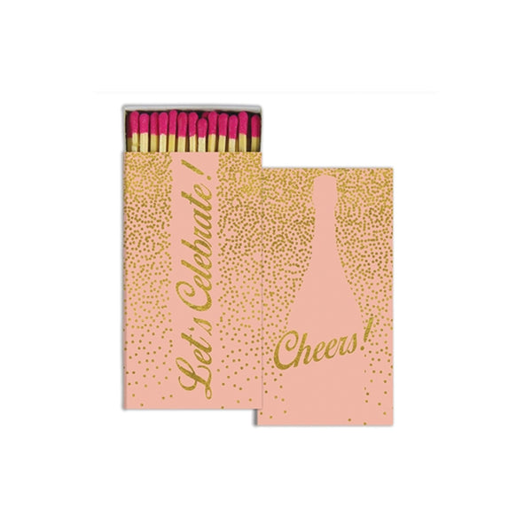 Pink & Gold Foil Cheers! Boxed Matches