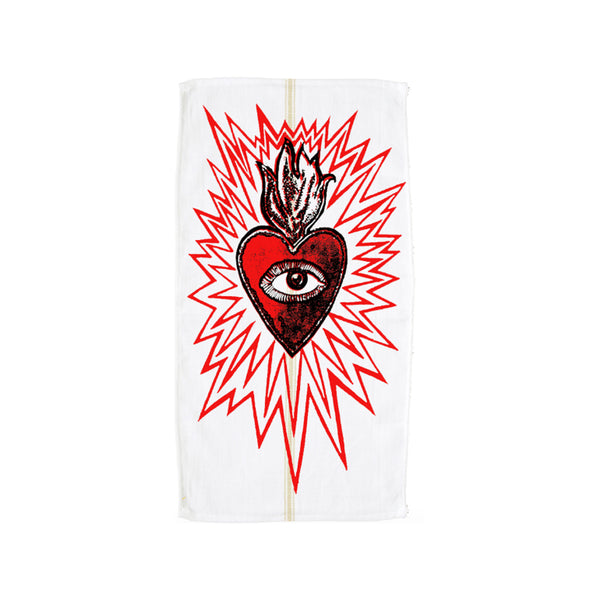 Love on Fire Hand Printed Dishtowel