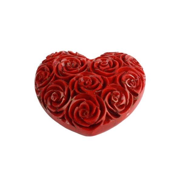 Red Carved Soapstone Heart