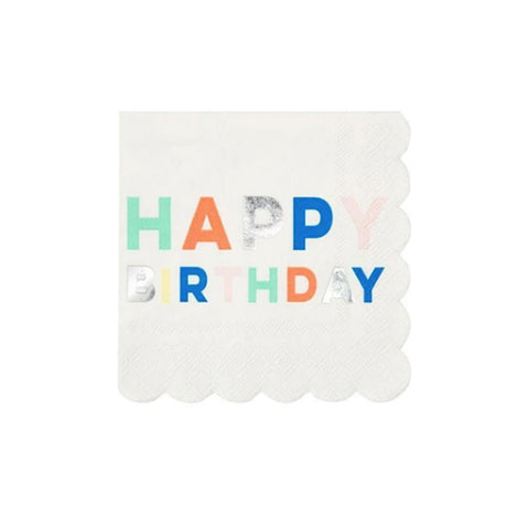 Happy Birthday Silver Foil Party Napkins