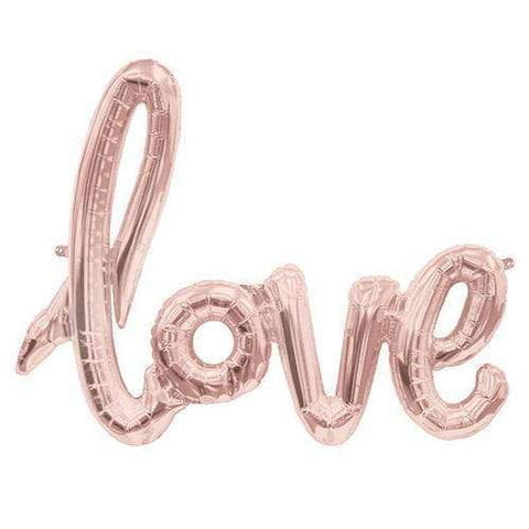 Love Script- Rose Gold Mylar Balloon